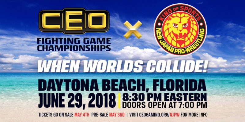 The best pro-wrestlers meet the best of the fighting game community! CEO Fighting Game Championships and NJPW: When Worlds Collide!